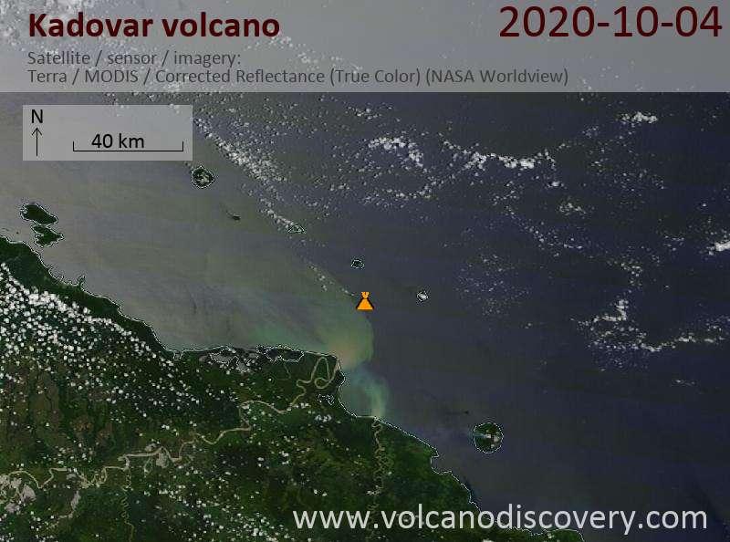 Satellite image of Kadovar volcano on  4 Oct 2020