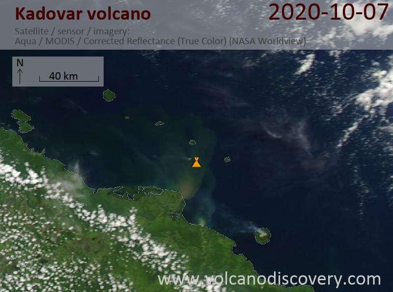Satellite image of Kadovar volcano on  7 Oct 2020