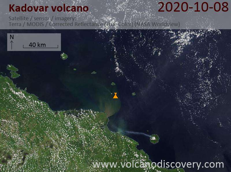 Satellite image of Kadovar volcano on  8 Oct 2020