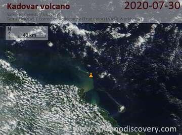 Satellite image of Kadovar volcano on 30 Jul 2020