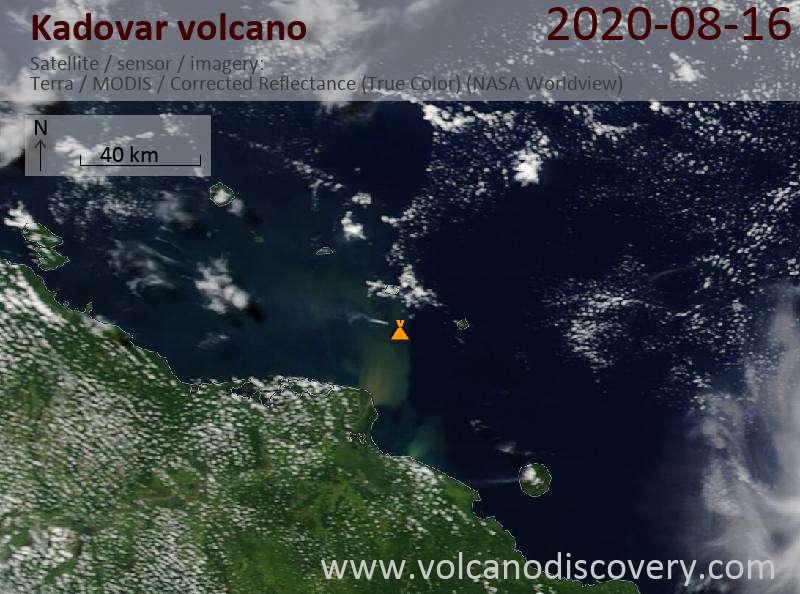 Satellite image of Kadovar volcano on 16 Aug 2020