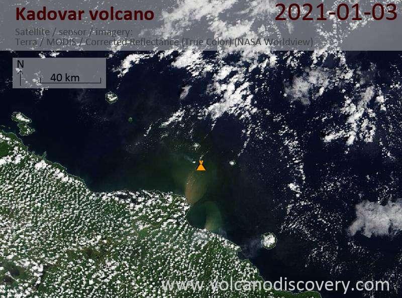 Satellite image of Kadovar volcano on  3 Jan 2021