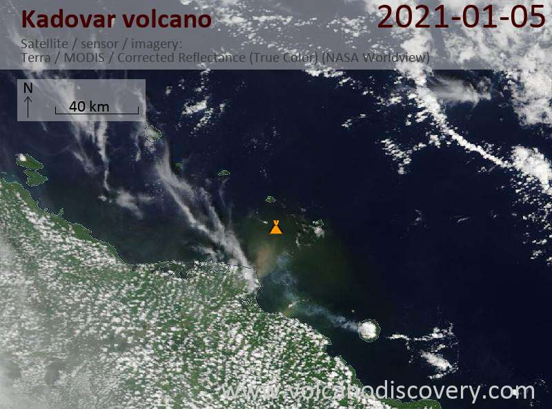 Satellite image of Kadovar volcano on  5 Jan 2021
