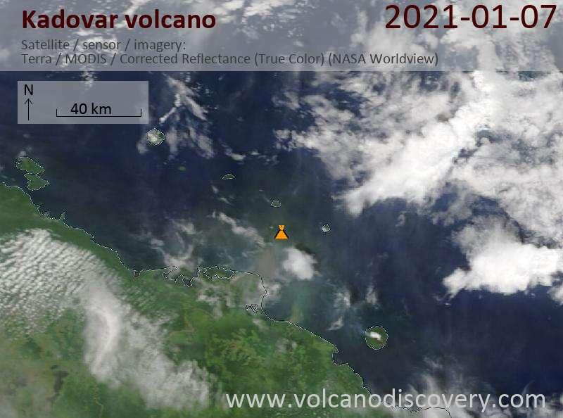 Satellite image of Kadovar volcano on  7 Jan 2021