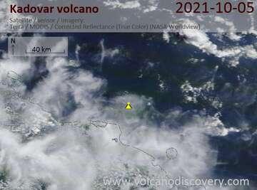 Satellite image of Kadovar volcano on October 8, 2021