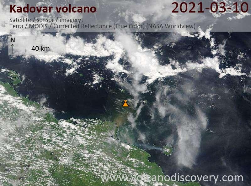 Satellite image of Kadovar volcano on 10 Mar 2021