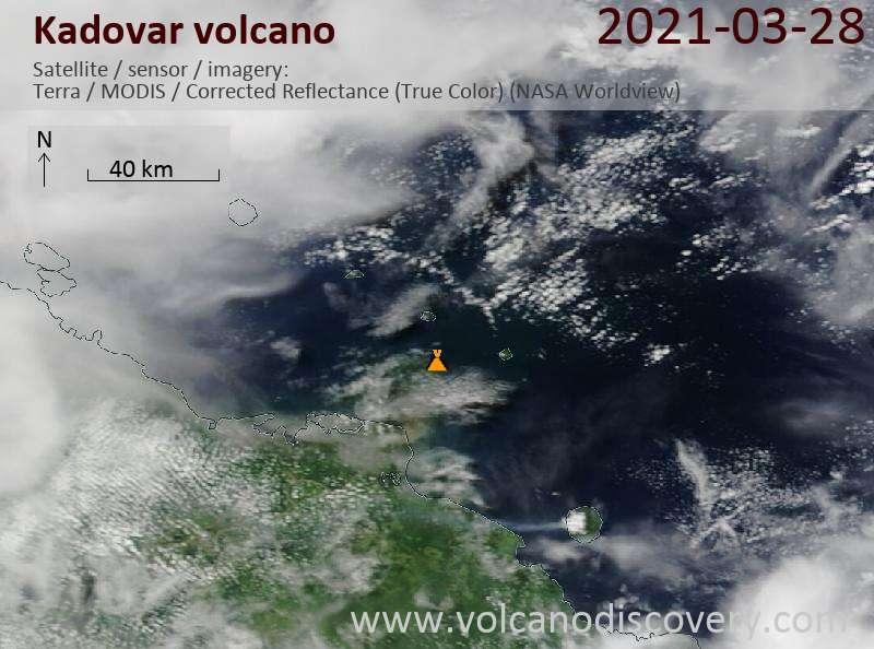 Satellitenbild des Kadovar Vulkans am 28 Mar 2021
