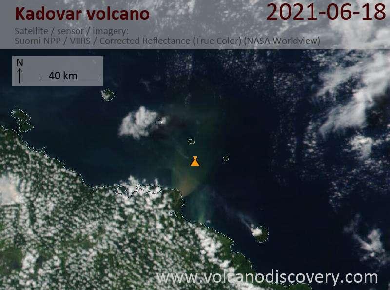 Satellite image of Kadovar volcano on 19 Jun 2021