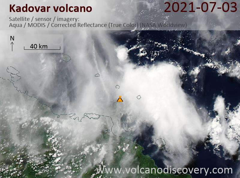 Satellite image of Kadovar volcano on  4 Jul 2021