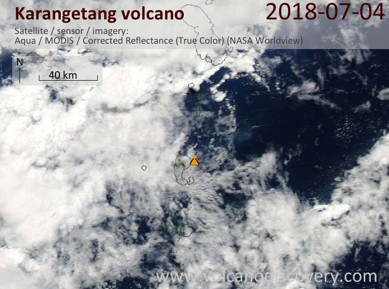 Satellite image of Karangetang volcano on  4 Jul 2018