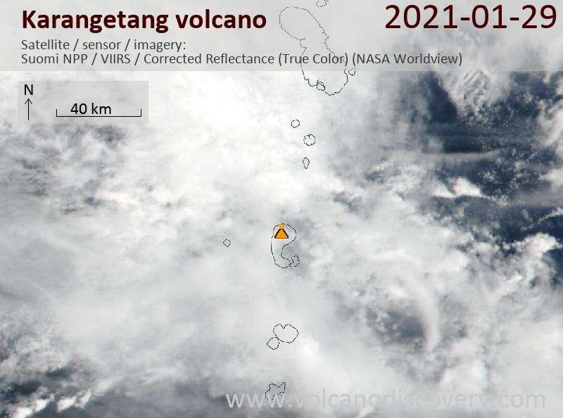 Спутниковое изображение вулкана Karangetang 29 Jan 2021