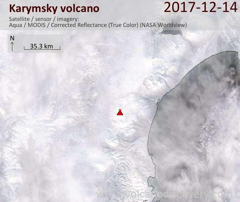 Satellite image of Karymsky volcano on 14 Dec 2017