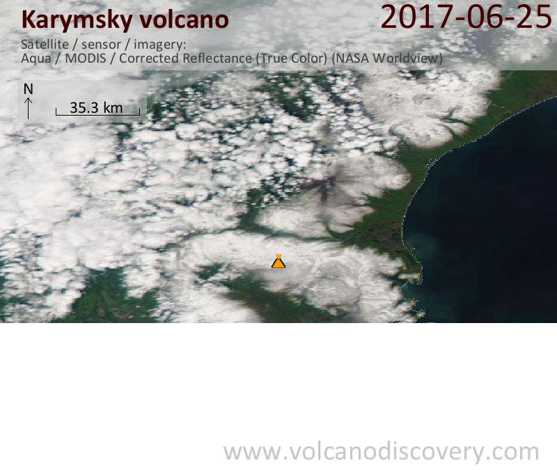 Satellite image of Karymsky volcano on 26 Jun 2017