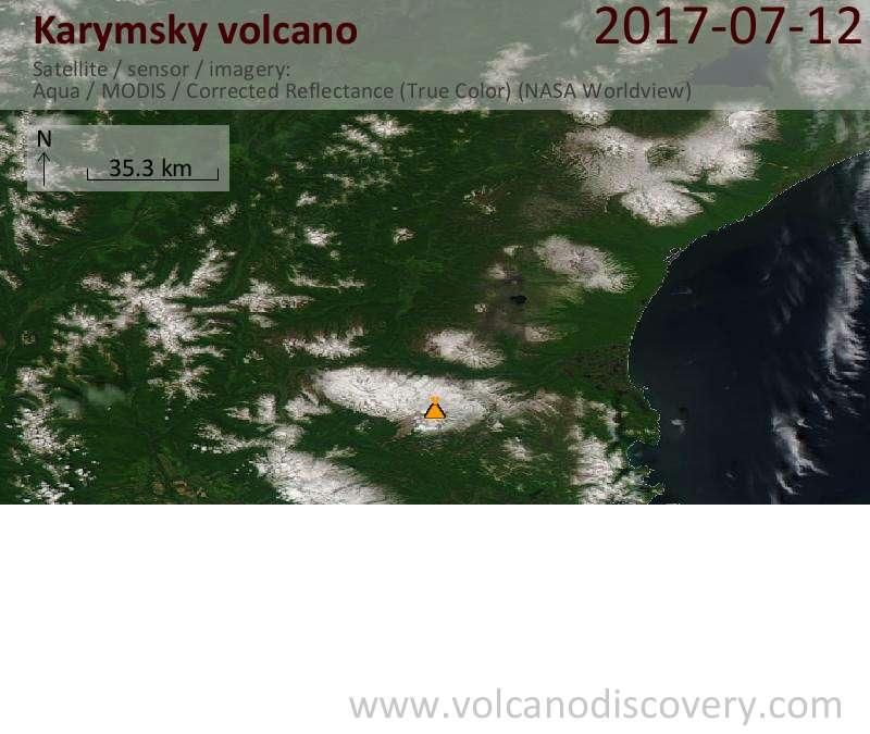 Satellite image of Karymsky volcano on 12 Jul 2017
