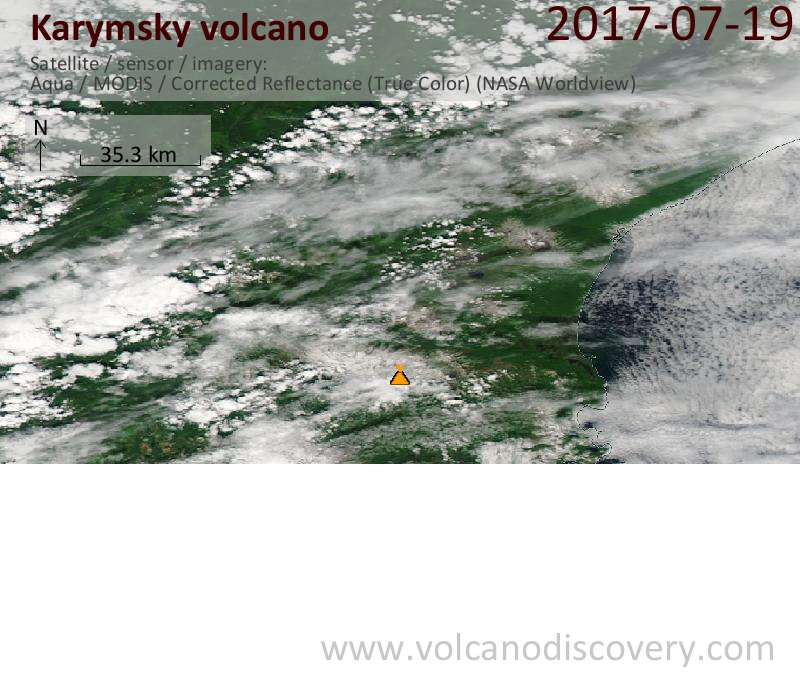 Satellite image of Karymsky volcano on 19 Jul 2017