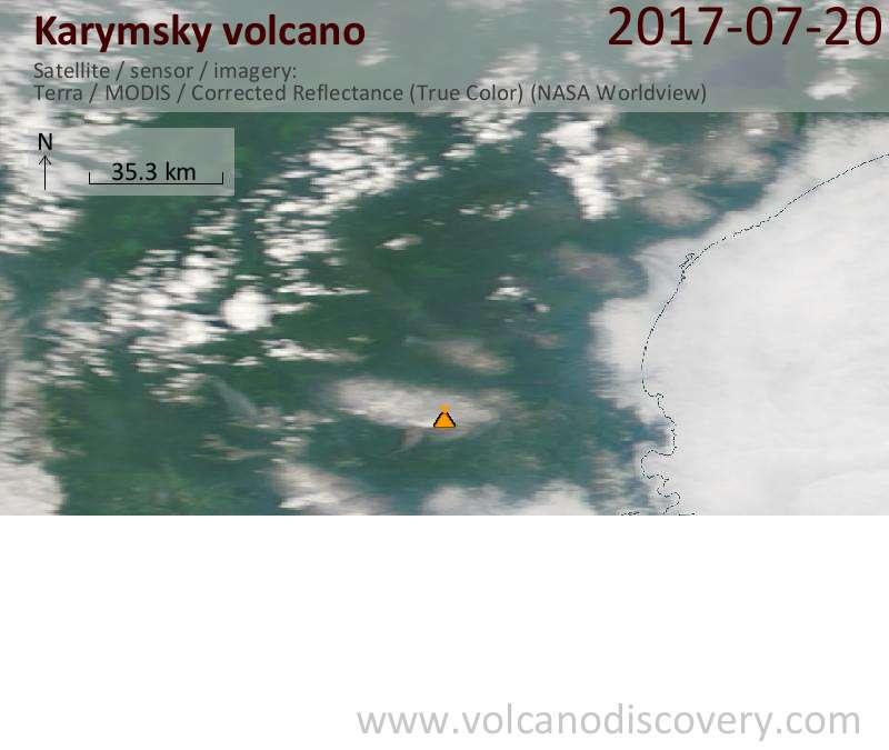 Satellite image of Karymsky volcano on 20 Jul 2017