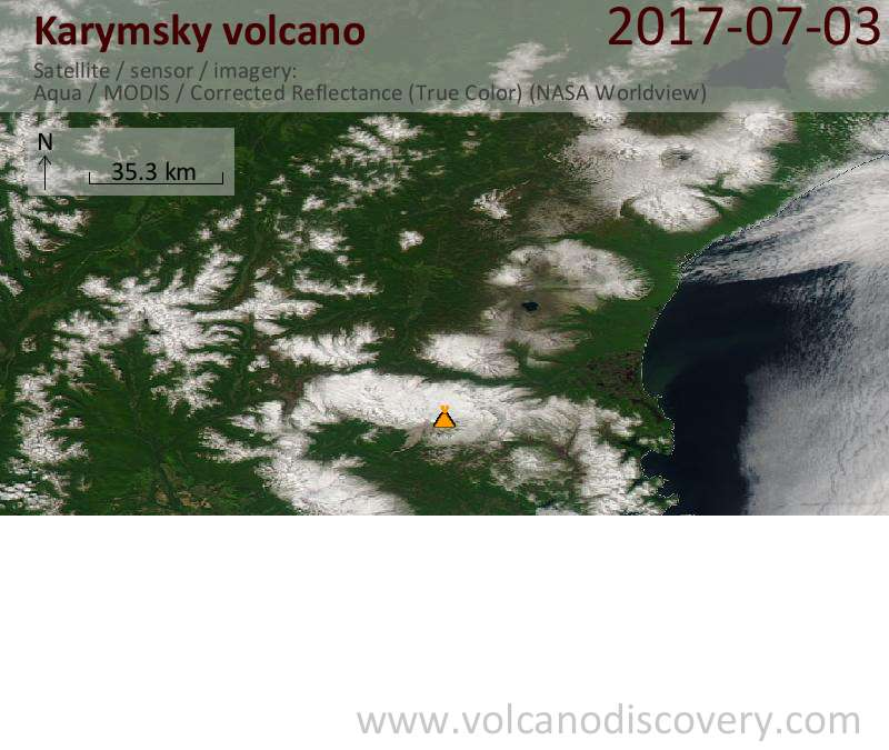 Satellite image of Karymsky volcano on  3 Jul 2017