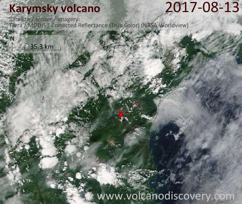 Satellite image of Karymsky volcano on 13 Aug 2017
