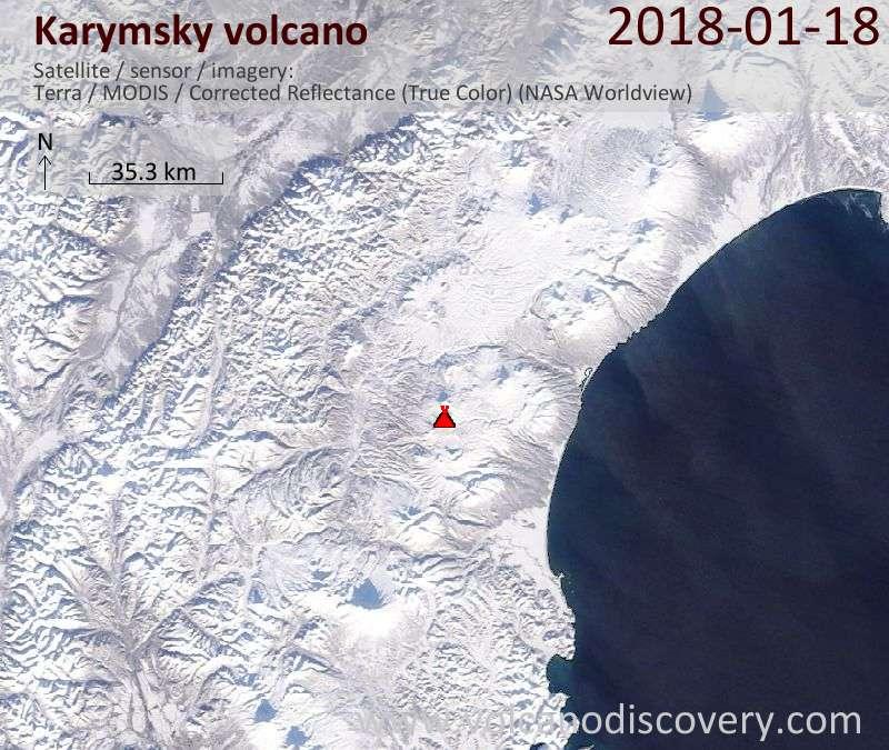 Satellite image of Karymsky volcano on 18 Jan 2018