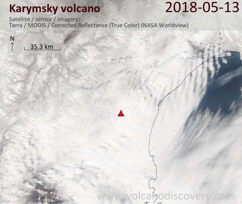 Satellite image of Karymsky volcano on 13 May 2018