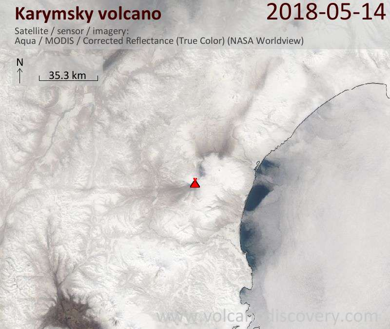 Satellite image of Karymsky volcano on 14 May 2018