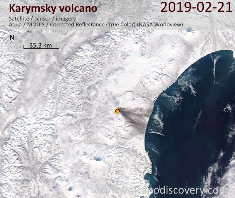 Satellite image of Karymsky volcano on 21 Feb 2019