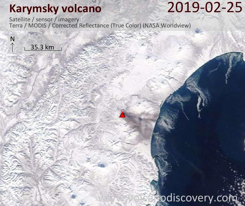 Satellite image of Karymsky volcano on 26 Feb 2019