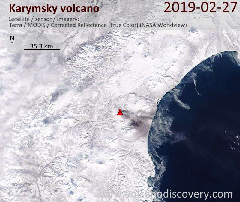 Satellite image of Karymsky volcano on 27 Feb 2019