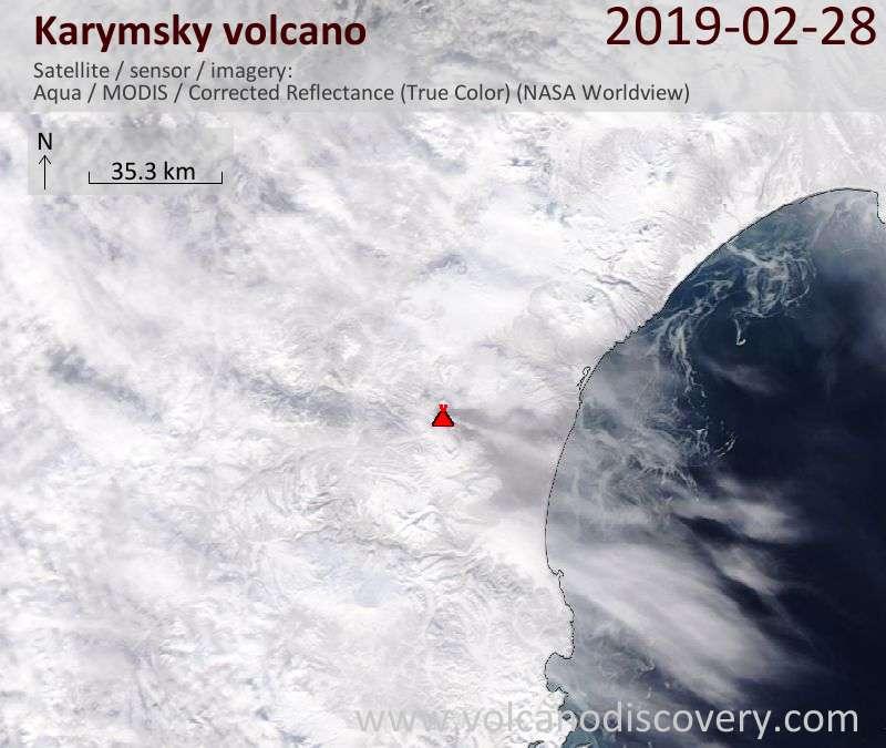 Satellite image of Karymsky volcano on 28 Feb 2019