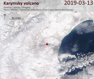 Satellite image of Karymsky volcano on 13 Mar 2019