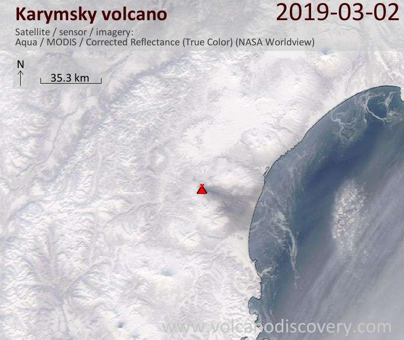 Satellitenbild des Karymsky Vulkans am  2 Mar 2019