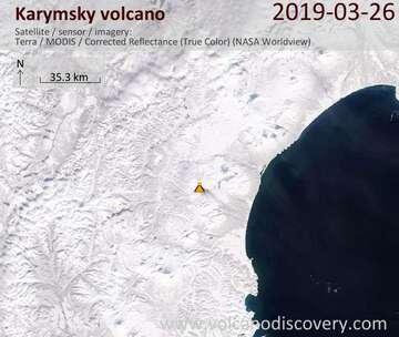 Satellite image of Karymsky volcano on 26 Mar 2019