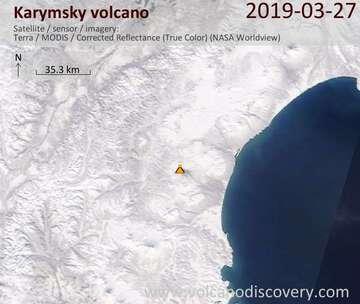 Satellite image of Karymsky volcano on 27 Mar 2019