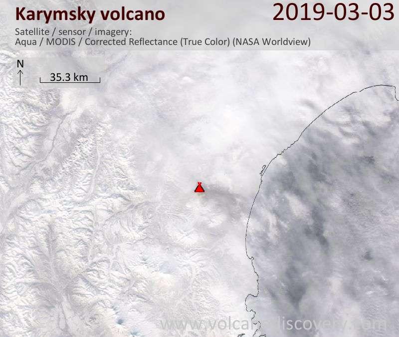 Satellitenbild des Karymsky Vulkans am  3 Mar 2019