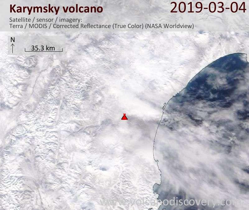 Satellitenbild des Karymsky Vulkans am  4 Mar 2019