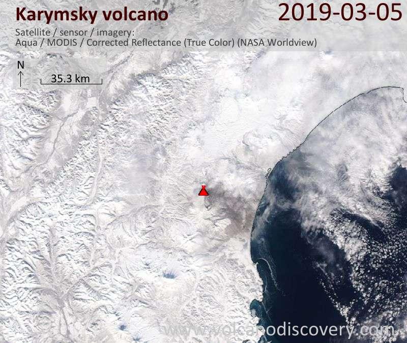 Satellitenbild des Karymsky Vulkans am  5 Mar 2019