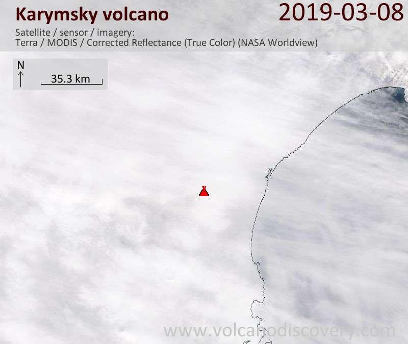 Satellitenbild des Karymsky Vulkans am  8 Mar 2019