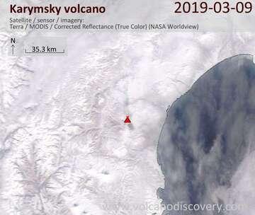 Satellite image of Karymsky volcano on  9 Mar 2019