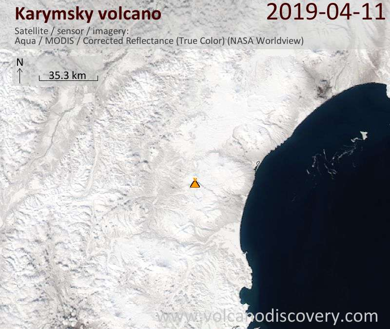 Satellite image of Karymsky volcano on 11 Apr 2019