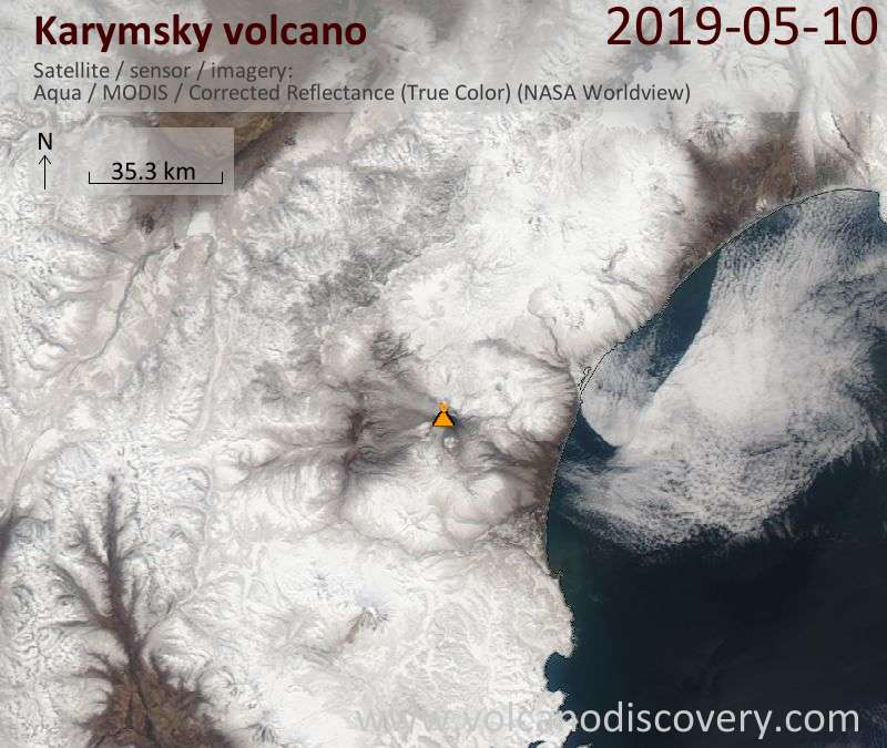 Satellite image of Karymsky volcano on 10 May 2019