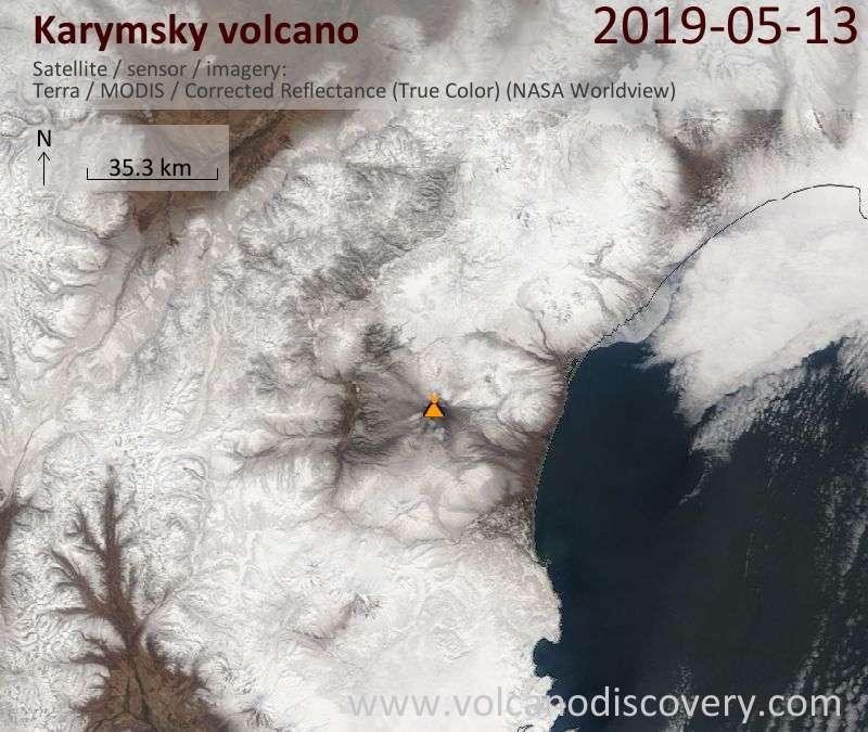 Satellite image of Karymsky volcano on 13 May 2019