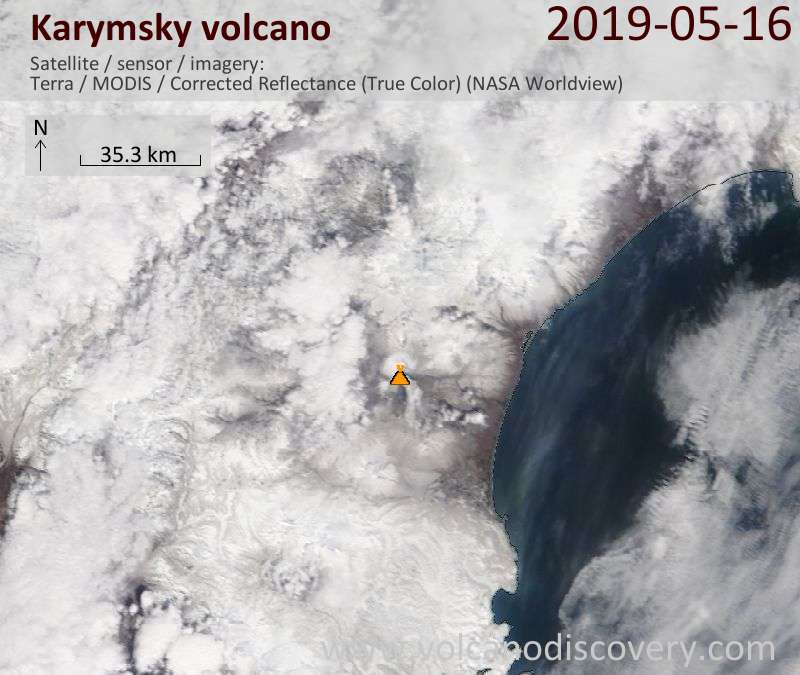 Satellite image of Karymsky volcano on 16 May 2019