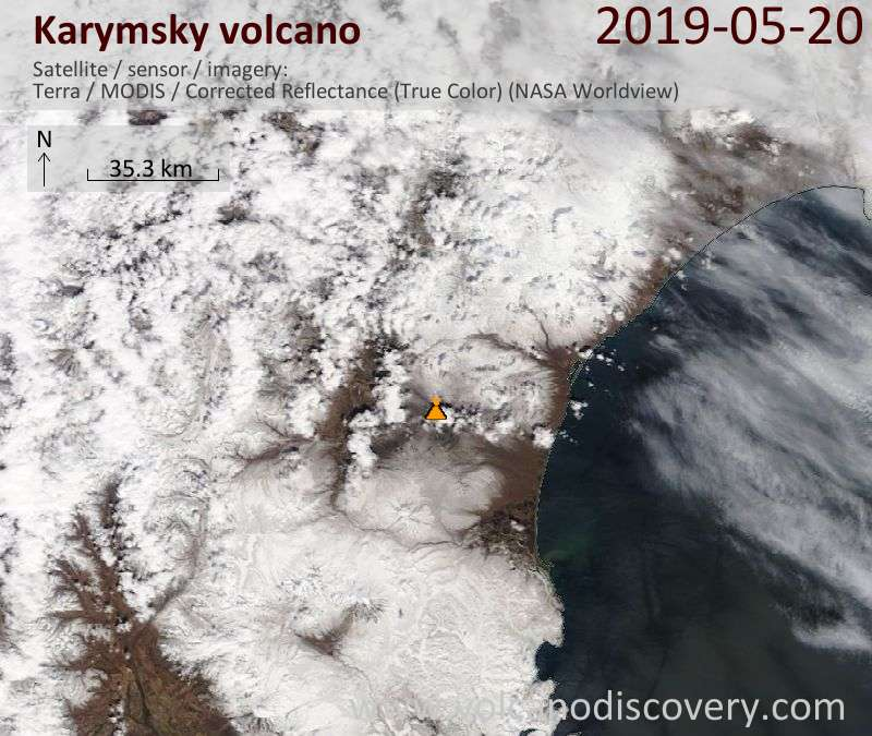 Satellite image of Karymsky volcano on 20 May 2019
