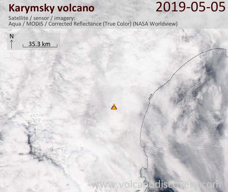 Satellite image of Karymsky volcano on  5 May 2019