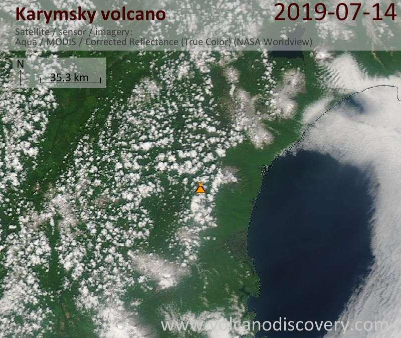 Satellite image of Karymsky volcano on 14 Jul 2019