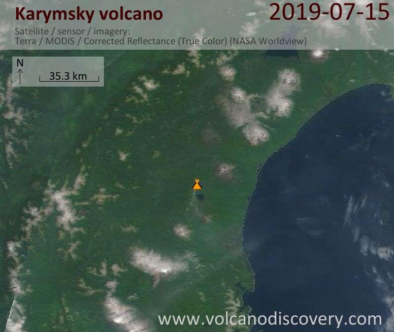 Satellite image of Karymsky volcano on 15 Jul 2019