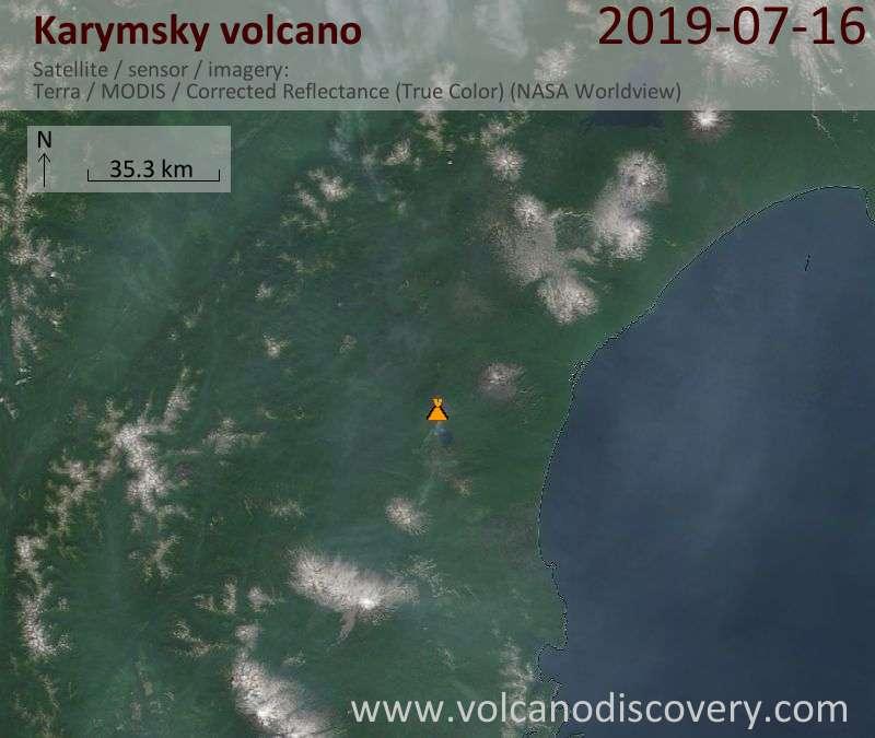 Спутниковое изображение вулкана Karymsky 16 Jul 2019