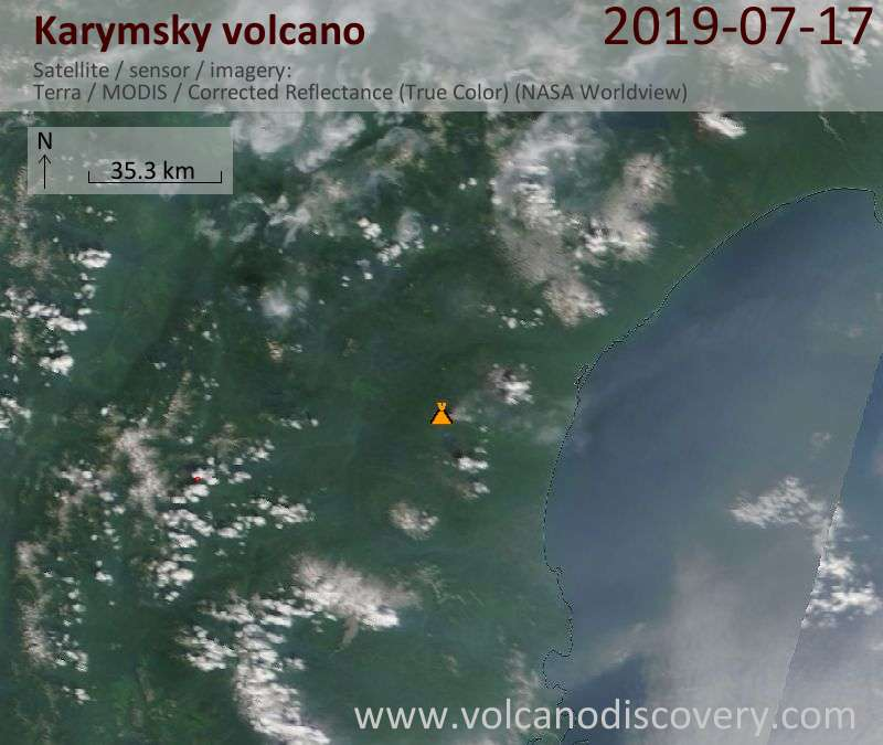 Satellite image of Karymsky volcano on 17 Jul 2019