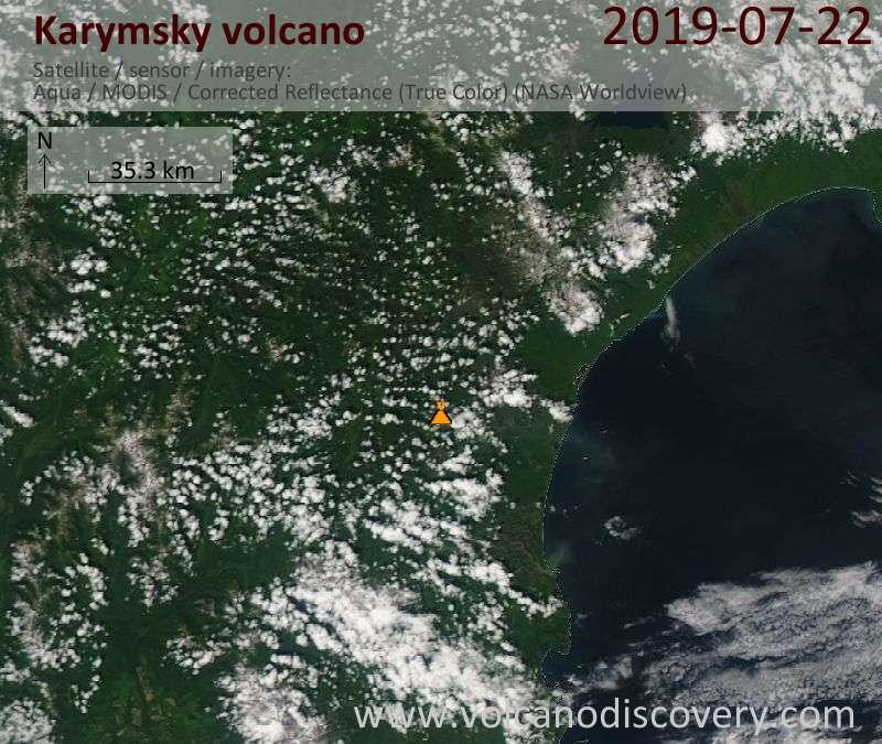 Satellite image of Karymsky volcano on 22 Jul 2019