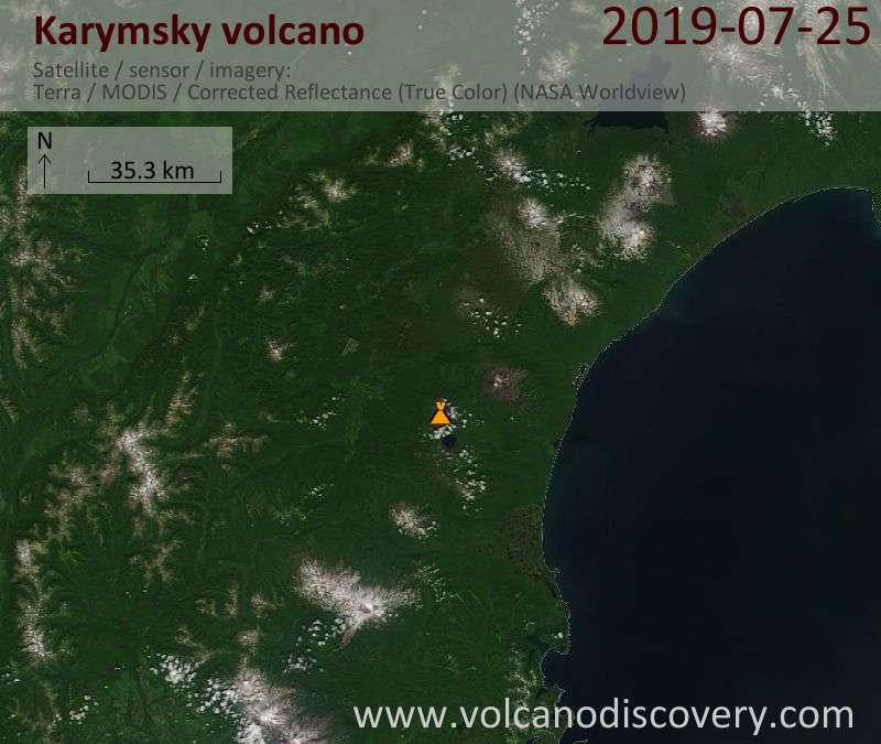 Satellite image of Karymsky volcano on 25 Jul 2019